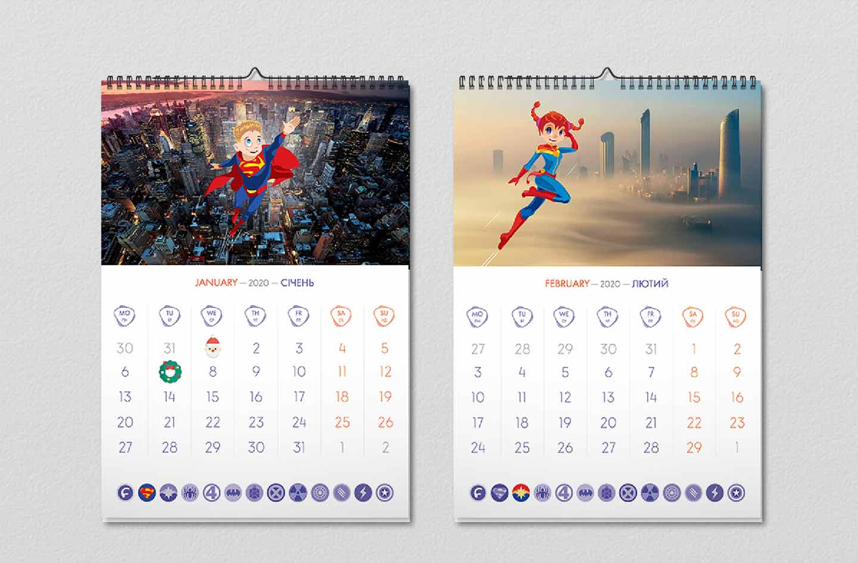 Дизайн календаря «Супергерои Footbik»