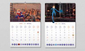 Дизайн нового календаря «Супергерои Footbik»