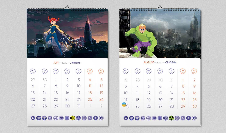 «Супергерои Footbik» - дизайн календаря
