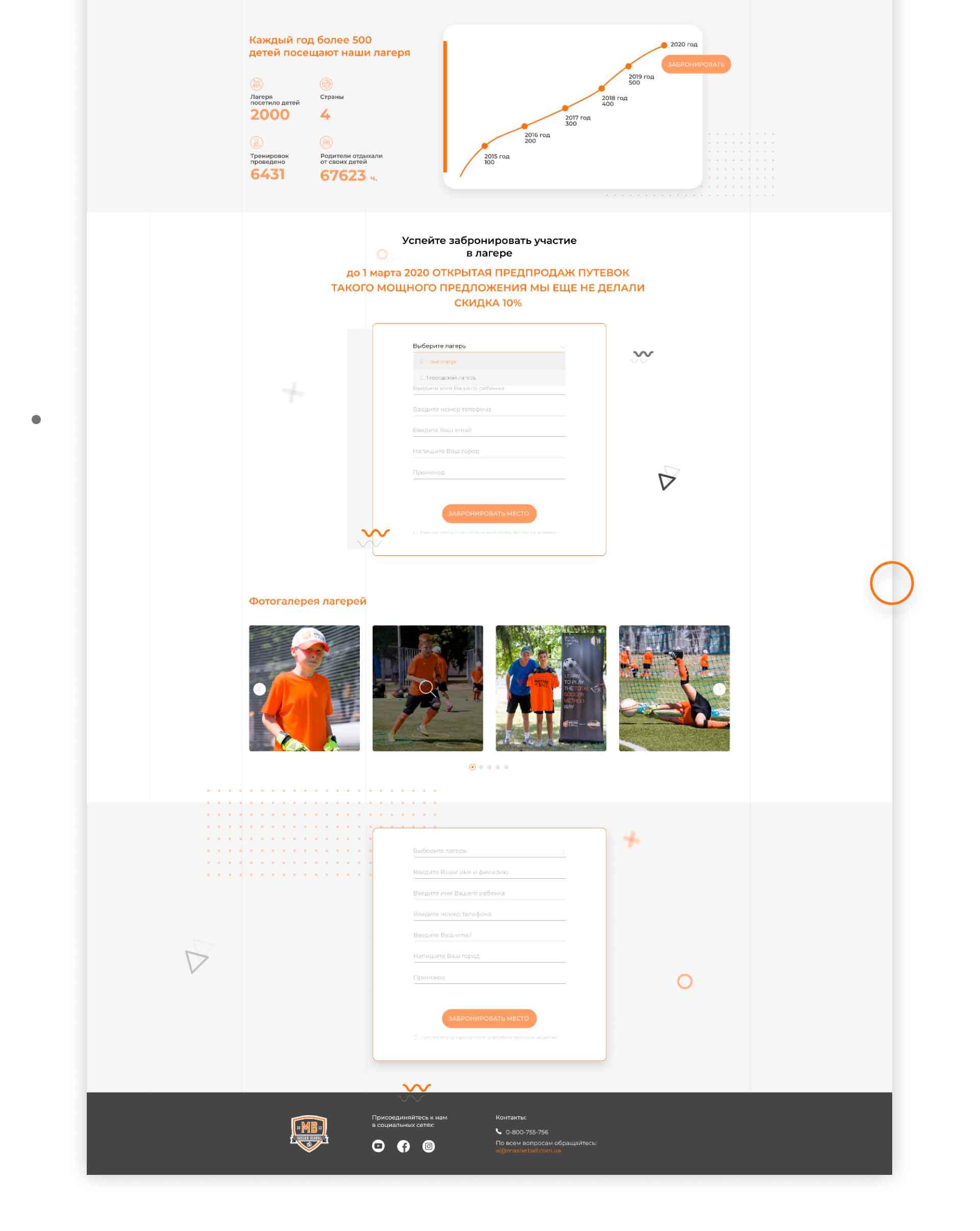 Футбольные лагеря «Мастер мяча» - дизайн сайта